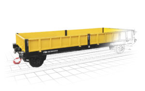 The railway trailer allows the transport of materials