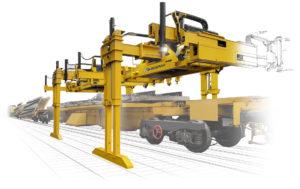 le portique de pose pour wagon pupitre PWP est utilisable avec les méthodes de pose sur tout réseau ferré.